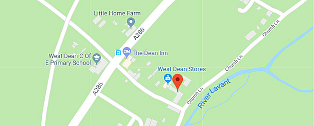 West Dean Stores location map, near Chichester, West Sussex